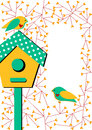 Invitation card with birdhouse and birds bird on a another bird on branches Stock Images