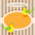 Invitation card birds cute yellow little Royalty Free Stock Photo