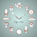 Invitation card coffee time vintage illustration of clock with dishware and text Royalty Free Stock Image