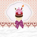 Invitation card with cupcake and space for text Stock Photography