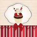 Invitation card with delicious cupcake