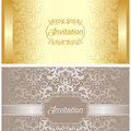 Invitation card design in gold and silver colors is presented Royalty Free Stock Images