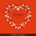 Invitation card with flower wreath . Stock Photo