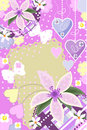 Invitation card with flowers butterflies and heart Stock Images