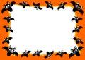 Halloween Invitation Card Flying Bats Frame