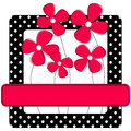 Polka dots frame with flowers