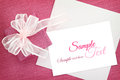 Invitation card gift box with ribbon and white Royalty Free Stock Image