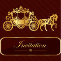 Invitation card with golden lettering. Vintage horse carriage design. Good idea for template, wedding card, retro style. Vector il Royalty Free Stock Photo