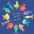 Invitation card with multicolored sea fishes