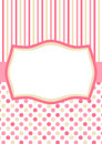 Invitation card with pink polka dots and stripes or tag a frame for text or image Stock Images