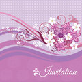 Invitation card with pink and white flowers on pink background this image is a vector illustration Royalty Free Stock Photos