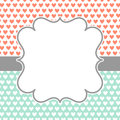 Invitation Card with polka hearts and frame Royalty Free Stock Photo