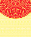 Invitation Card with Red Ethnic Round Element Royalty Free Stock Photography
