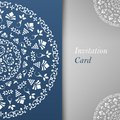 Invitation card template blue greeting card for design Royalty Free Stock Image