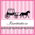 Invitation card vintage with horse carriage decoration Royalty Free Stock Image