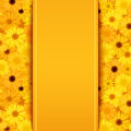 Invitation card with yellow and orange gerbera flowers Royalty Free Stock Photo