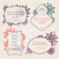 Invitation cards with a floral pattern Royalty Free Stock Photography