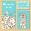 Invitation cards for a party in Hawaiian style with hand-drawn flowers, palm trees and pineapple Royalty Free Stock Photo
