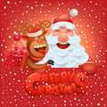 Invitation christmas card with funny santa claus and reindeer characters