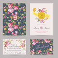 Invitation or congratulation card set for wedding baby shower in vector Royalty Free Stock Image
