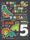 Invitation dinosaurs party birthday.