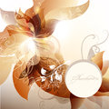 Invitation floral background with banner and space for text Royalty Free Stock Photo