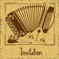 Invitation with folk musical instruments vintage for concert Royalty Free Stock Images