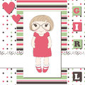 Invitation or greeting scrapbook card rof girl Royalty Free Stock Image