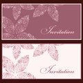Invitation set collection of beautiful vintage cards with floral elements Royalty Free Stock Image