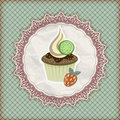 Invitation temlate with cupcake Stock Photography