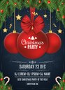 Invitation to a Christmas party. Red ball with a bow of tape. Christmas concept from fir tree, snow berries, gold stars and lollip Royalty Free Stock Photo