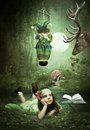 The invitation to a fairy tale little girl having read tales dream about miracle Stock Image