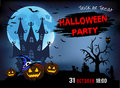 Invitation to a party Halloween, three pumpkins, illustration. Royalty Free Stock Photo