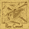 Invitation to piano concert or flyer with keyboards on a vintage background Stock Photography