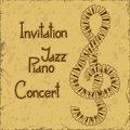 Invitation to piano concert on a vintage background Stock Photos