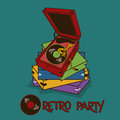 Invitation to retro party with gramophone or flyer Royalty Free Stock Photography