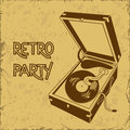 Invitation to retro party with gramophone or flyer on a vintage background Stock Image