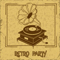 Invitation to retro party with gramophone or flyer on a vintage background Stock Photo