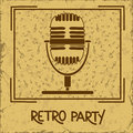 Invitation to retro party with microphone or flyer on a vintage background Royalty Free Stock Photography
