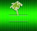 Invitation to travel green background with palm tree glamorous envelope Stock Images
