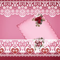 Invitation vintage card with lace on pink background Stock Photography