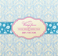 Invitation vintage label flower frame blue Stock Image