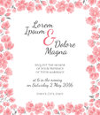 Invitation wedding card with cherry sakura flowers vector template