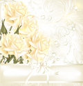 Invitation wedding card with roses and pears Stock Photography