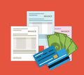 Invoice design. Money icon. Colorful illustration, vector Royalty Free Stock Photo