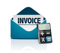 Invoice and modern calculator illustration design over white Royalty Free Stock Photos