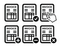 Invoicing banking black icons set isolated on white Royalty Free Stock Photography