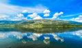 Ioannina lake Pamvotida in Epirus Region, Greece. Artistic panor