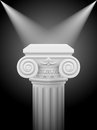 Ionic column classic with lights sources illustration on black Royalty Free Stock Photos