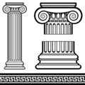 Ionic Column with Greek Key Pattern Stock Image